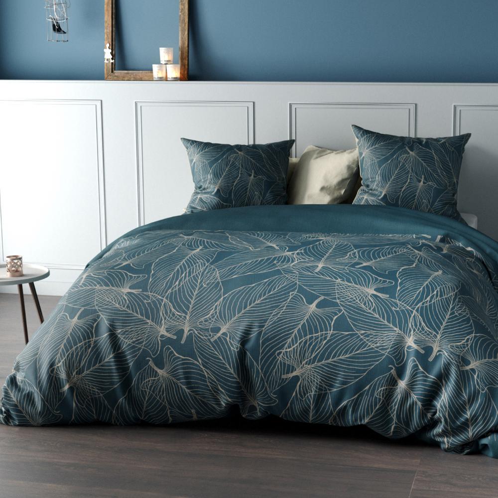 Housse De Couette Et Deux Taies Percale De Coton 200 Cm Cohiba Bleu Canard In 2020 Cute Bed Sheets Bed Room
