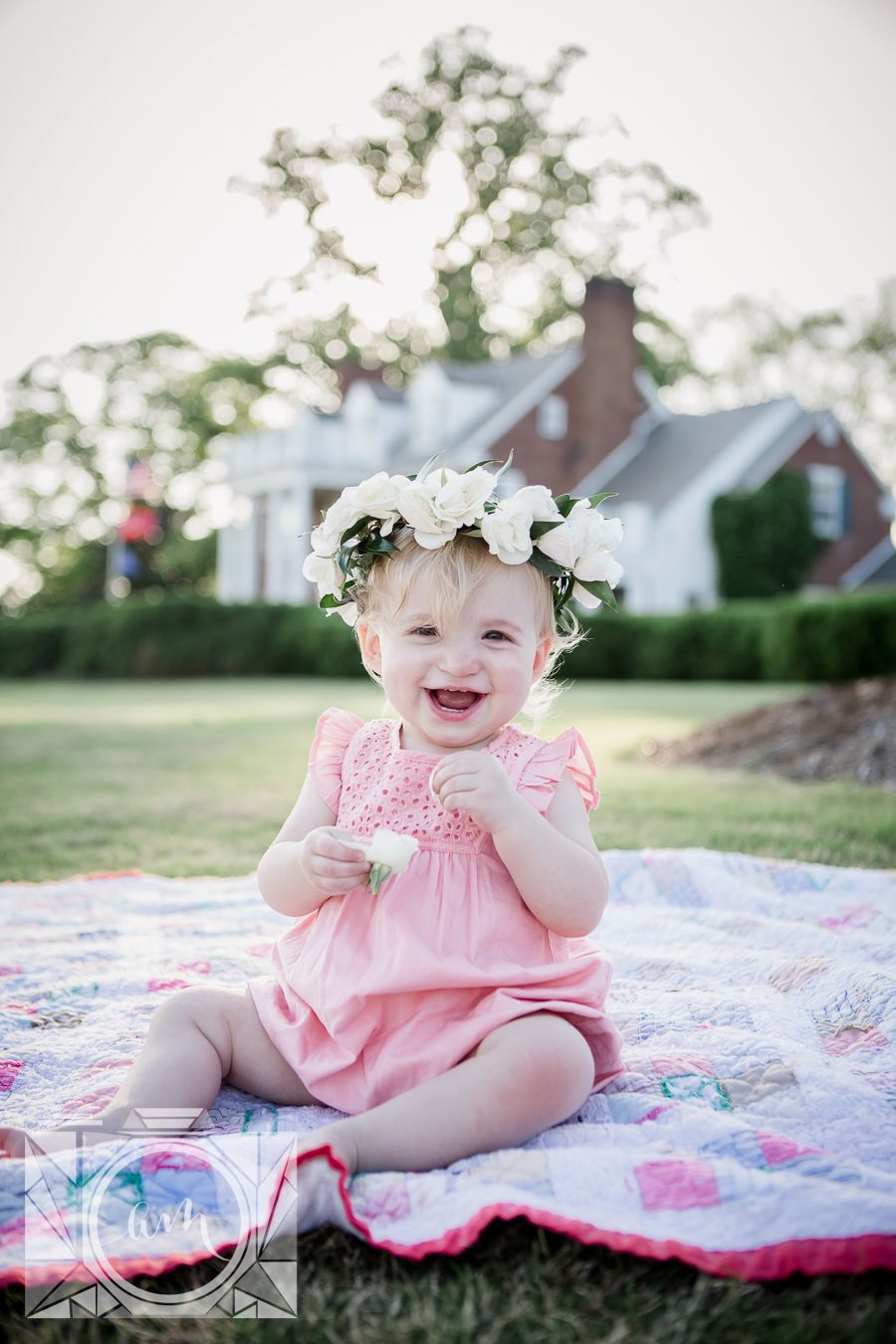 94982f79bb045 Flower crown on little girl sitting in front of mansion at her 1 year old  session at Baxter Gardens by Knoxville Wedding Photographer, Amanda May  Photos.