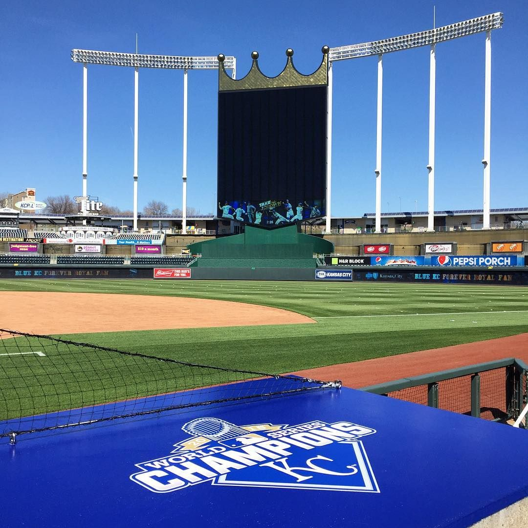 New logo atop the Royals dugout OpeningNight Dugout