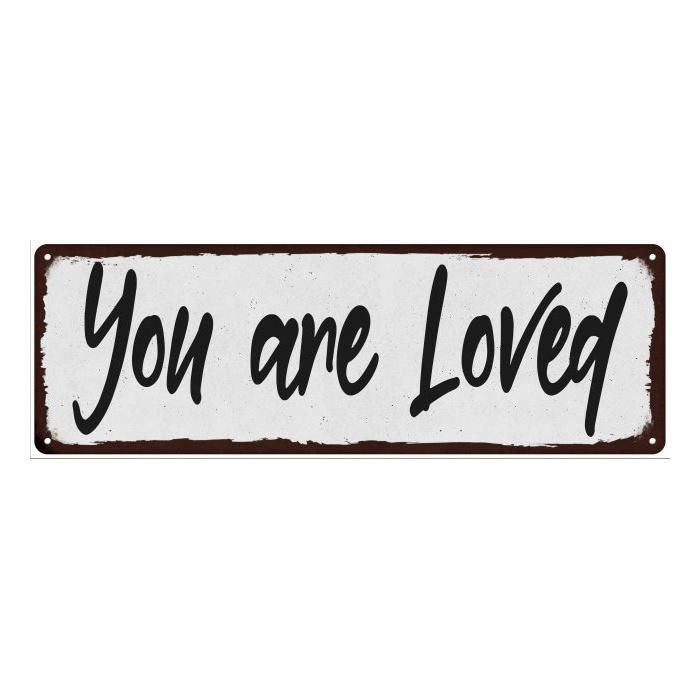 You are Loved Black on White Shabby Chic Metal Sign 6x18 Room Decor 106180049049