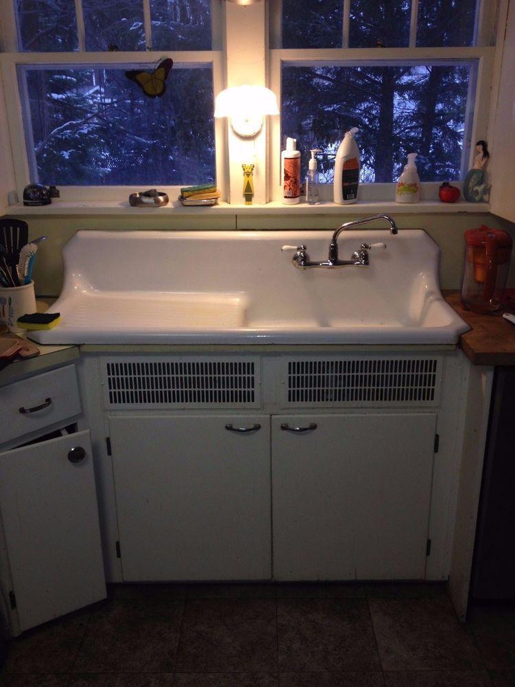 Vintage Antique Farmhouse Sink Porcelain Cast Iron \