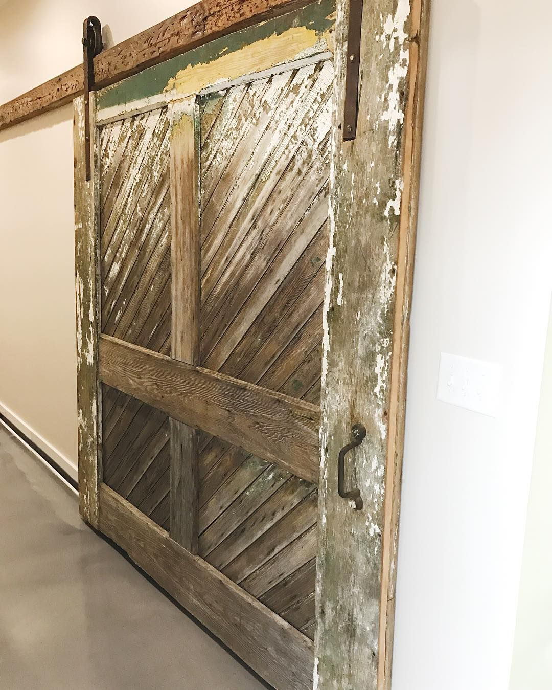 Another Barn Door Install Is Complete This Is One Of The Original Freight Doors That We Salvaged From The Acwor Door Installation Barn Doors Sliding Barn Door