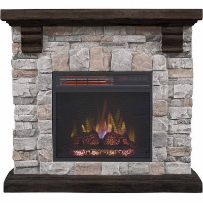 Dark Pine Wood Mantel & Faux Stone with Infrared Quartz Electric Fireplace