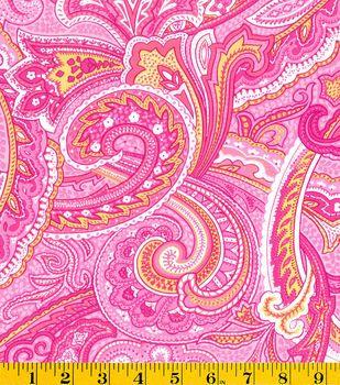 Summerville Poplin FabricPaisley Swirl Pink Fabric