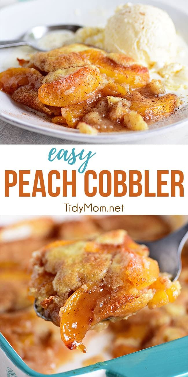 EASY PEACH COBBLER This tried-and-true Peach Cobbler recipe is easier than pie! Use fresh or frozen peaches so you can enjoy peach cobbler year-round. Serve it with a scoop of ice cream for the perfect dessert. Print the full recipe at