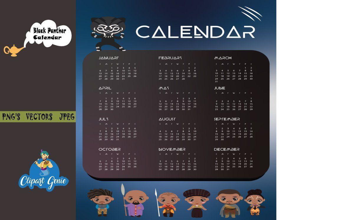 Black Panther Calendar Calendar 2019 2019 Digital Monthly