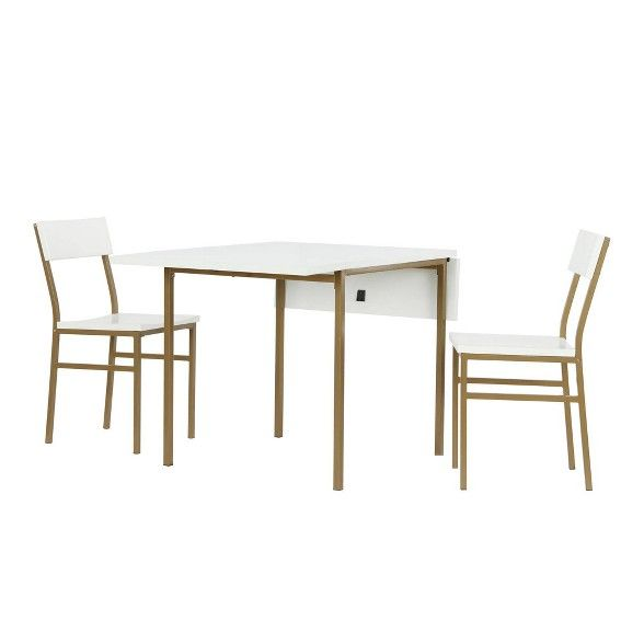Mercer Dining Table And Chair Set Brass White Cosmoliving By Cosmopolitan With Images Brass Dining Table Table And Chair Sets Black Dining Room Furniture