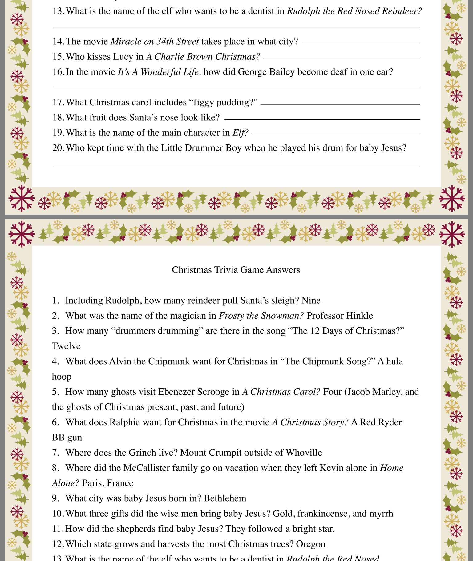Christmas Trivia By Tammy Bradley On Christmas