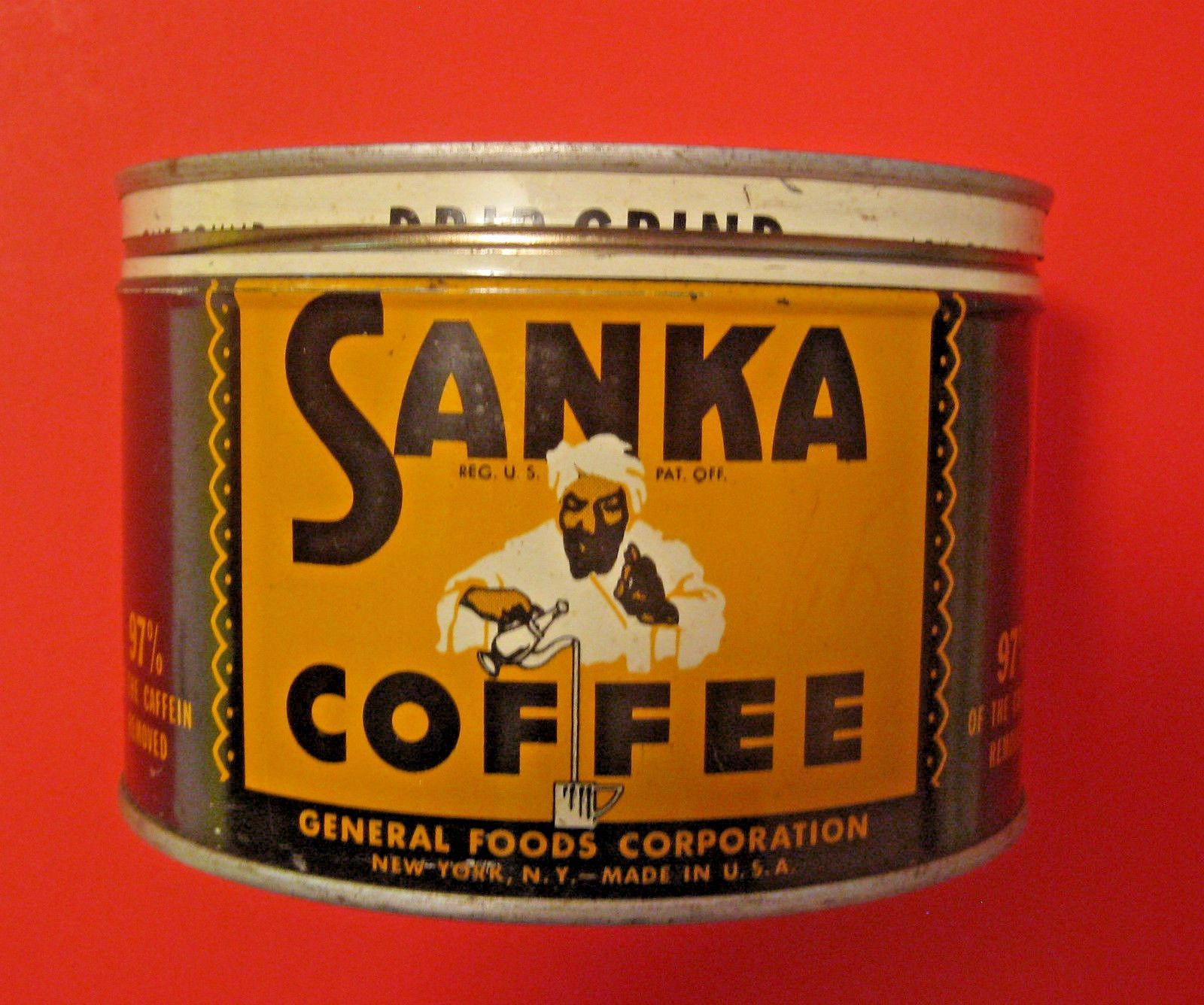 Vintage Sanka Coffee Advertising Tin ,Great Graphics, Lets