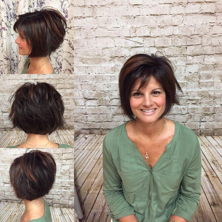Bronze High Light On Dark Brown Hair Done By Heather J Short