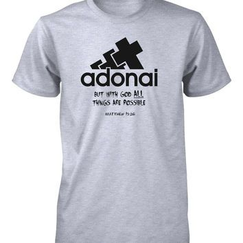 Adonai all things possible god bible verse christian t for Bible t shirt quotes