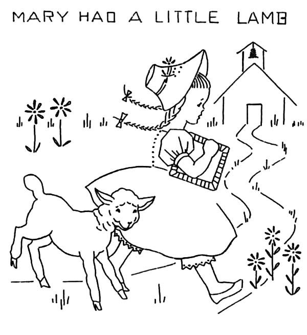 Mary Had A Little Lamb And She Running Away Form Her Coloring Pages