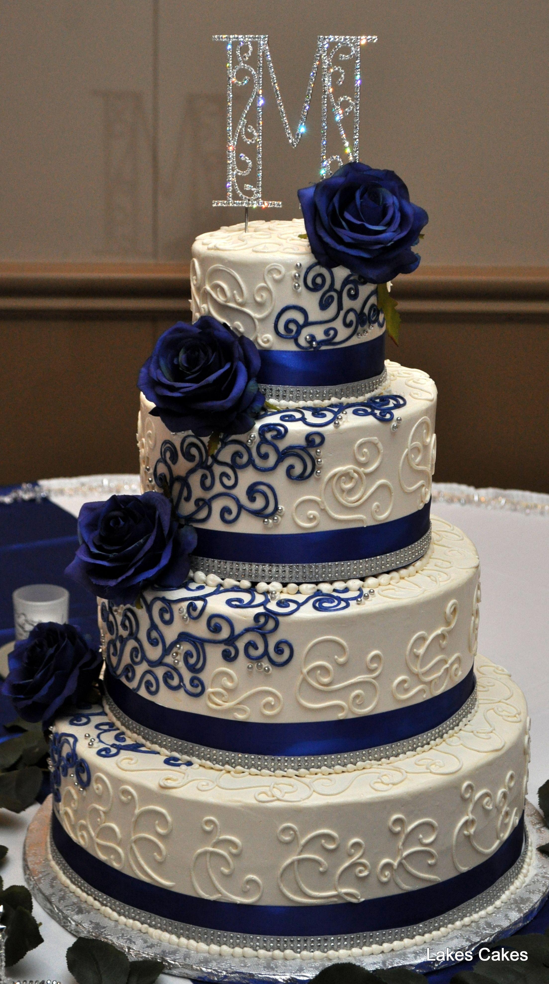 Navy Blue White And Bling Themed Wedding Cake