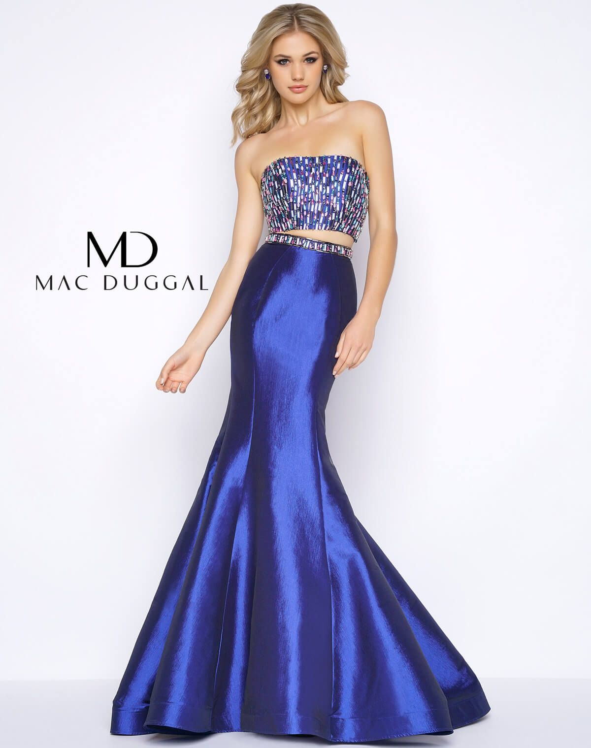 Two Piece Mermaid Prom Dress - back