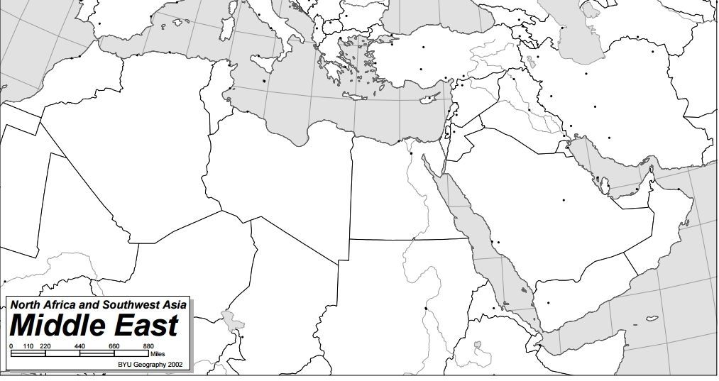 southwest asia and north africa blank map printable us maps Middle