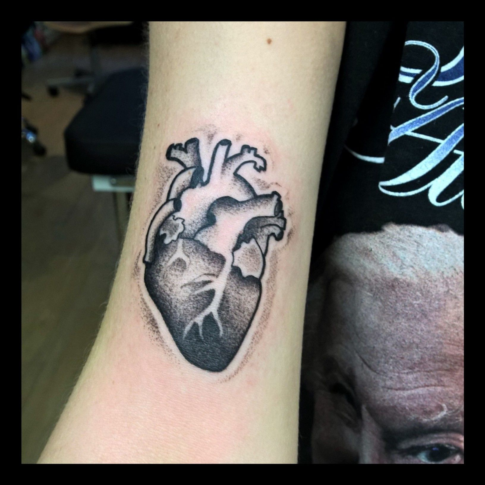 Small dotwork anatomical heart By Fifth Dimension Tattoo