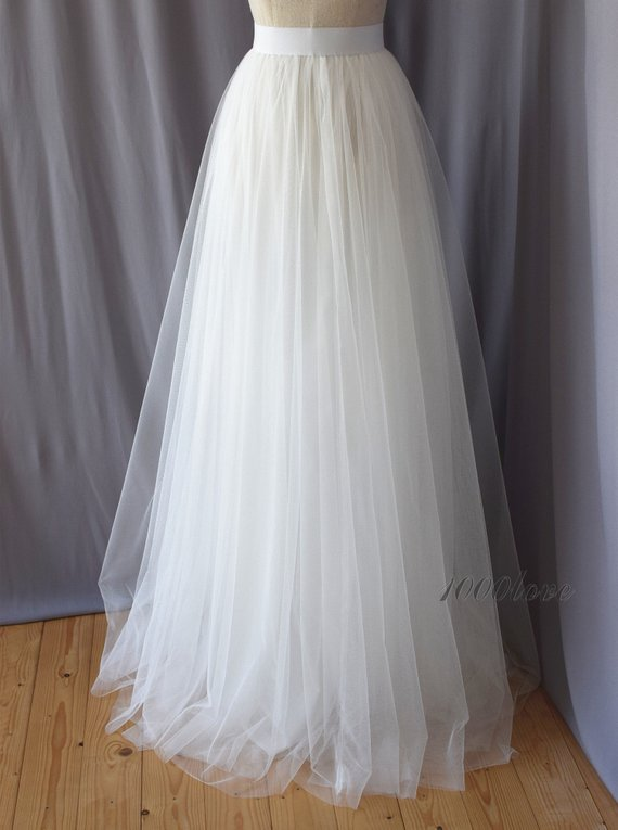 White Adult Tulle Skirt Wedding Bridesmaid Dress Floor Length
