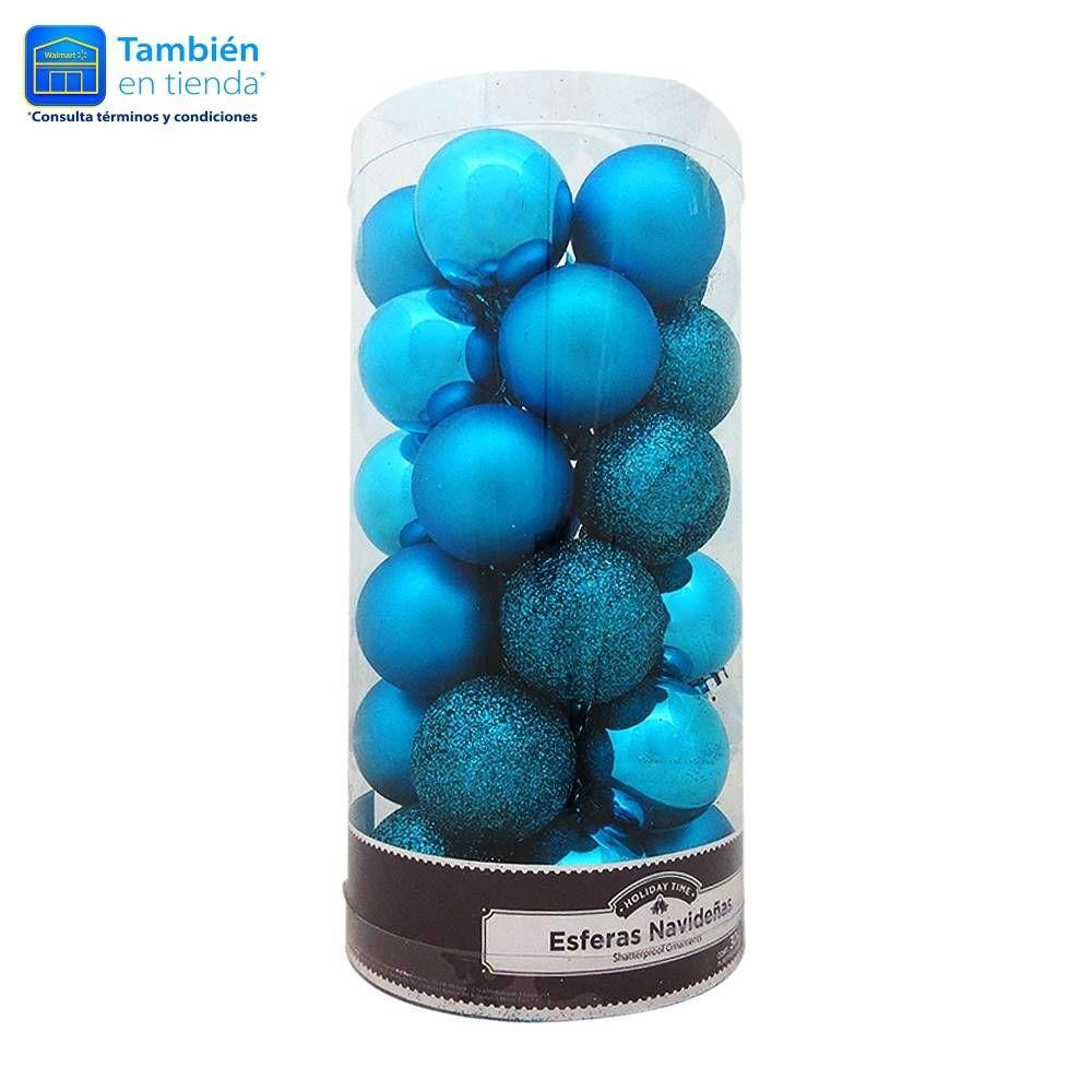 Esferas Navideñas Holiday Time Varios Diseños Color Turquesa 30 Piezas