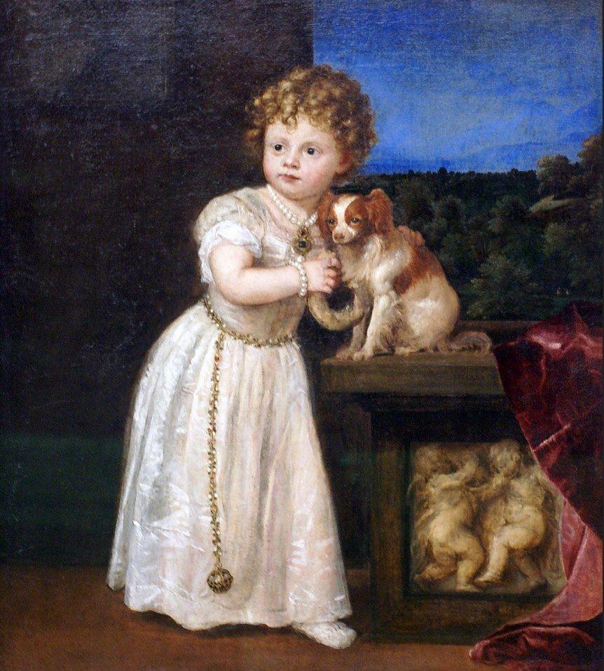 Risultati immagini per Tiziano pitture Cavalier King Charles Spaniel?