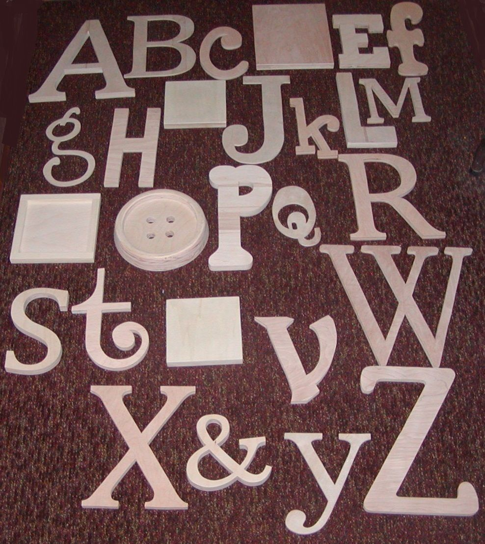 """Alphabet Set -Wooden Letters -Alphabet Wall-ABC Wall- UNPAINTED 12"""" to 6"""" lette   Abc wall ..."""