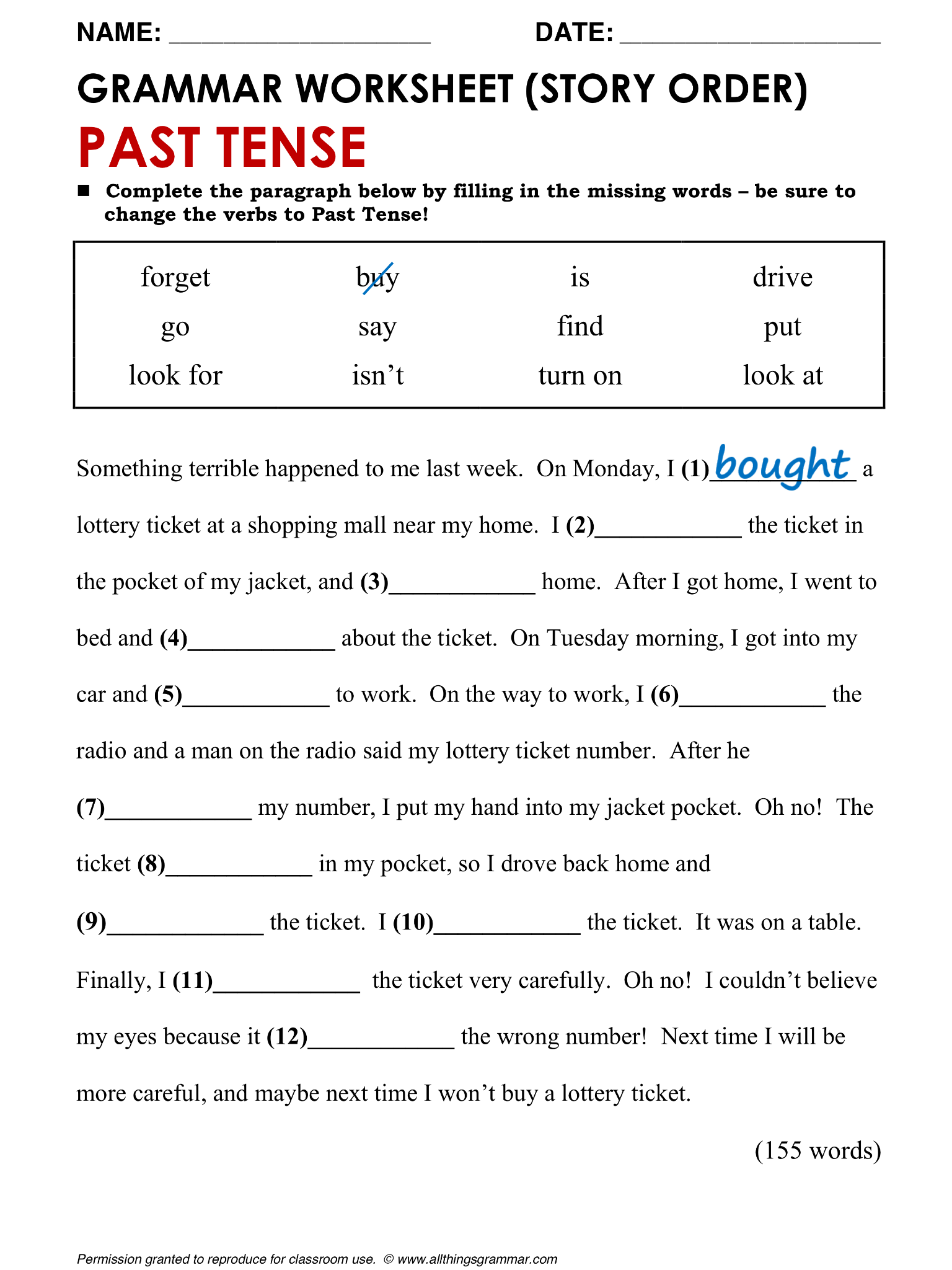English Grammar Tests Fluent Land Past tense worksheet