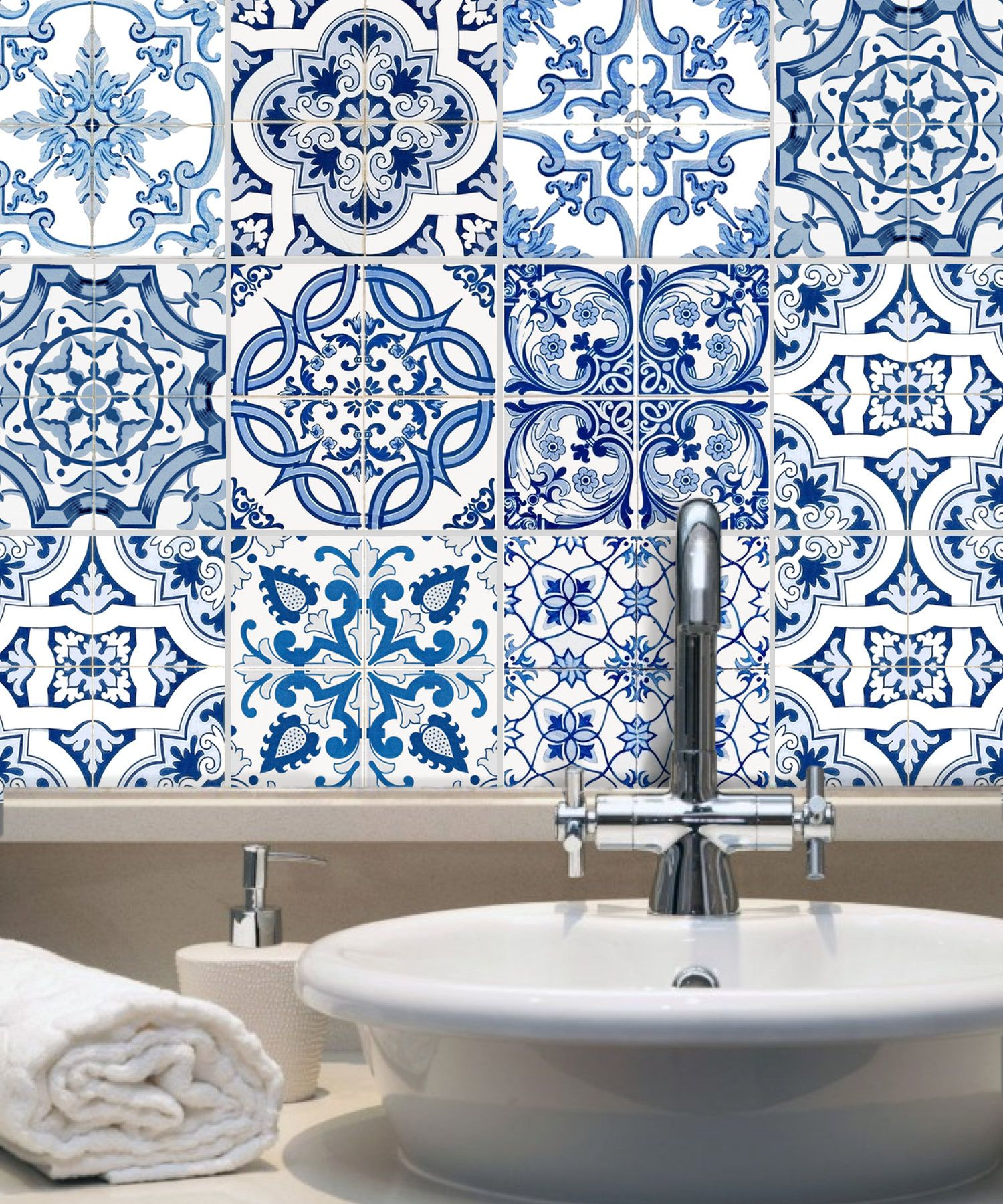 Tile Stickers Vinyl Decal Waterproof Removable: Blue Spanish Mexican ...