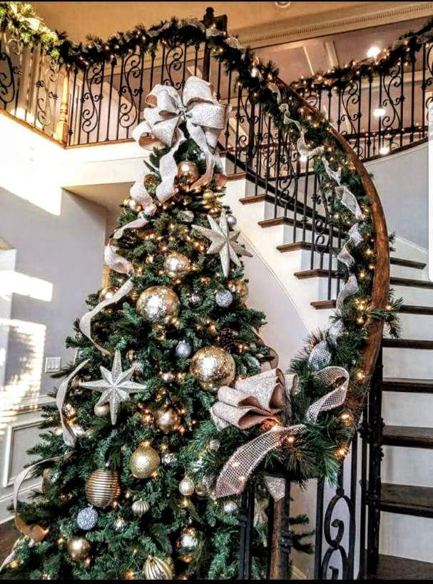 Gold Silver Christmas Tree For The Entryway By Disciplined Design Gold Christmas Decorations Gold Christmas Tree Decorations Silver Christmas Decorations