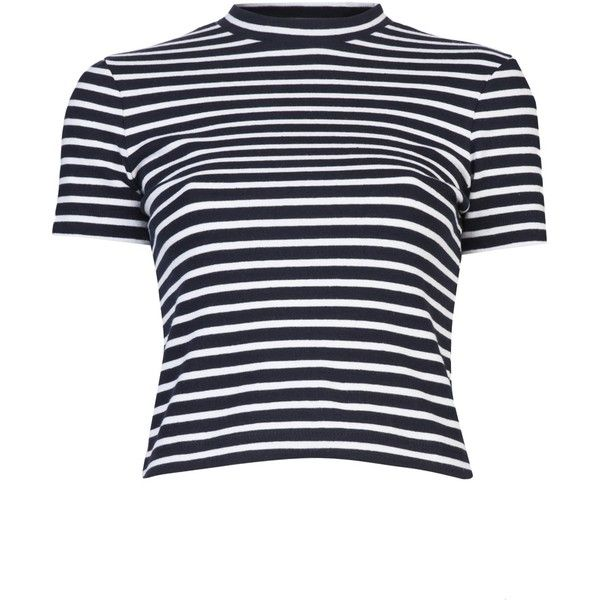 T BY ALEXANDER WANG Striped cotton top (955 NOK) ❤ liked on Polyvore featuring tops, shirts, crop top, short sleeve tops, white and black striped shirt, black and white striped top and black white striped shirt