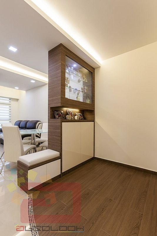 False Ceiling Designs For Living Room In Flats: Shoe Cabinet Mixed Laminates