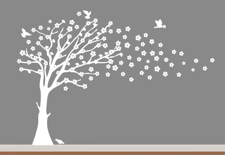 White Cherry Blossom TreeChildren Nursery Wall Decal Vinyl - Custom vinyl wall decals cherry blossom tree