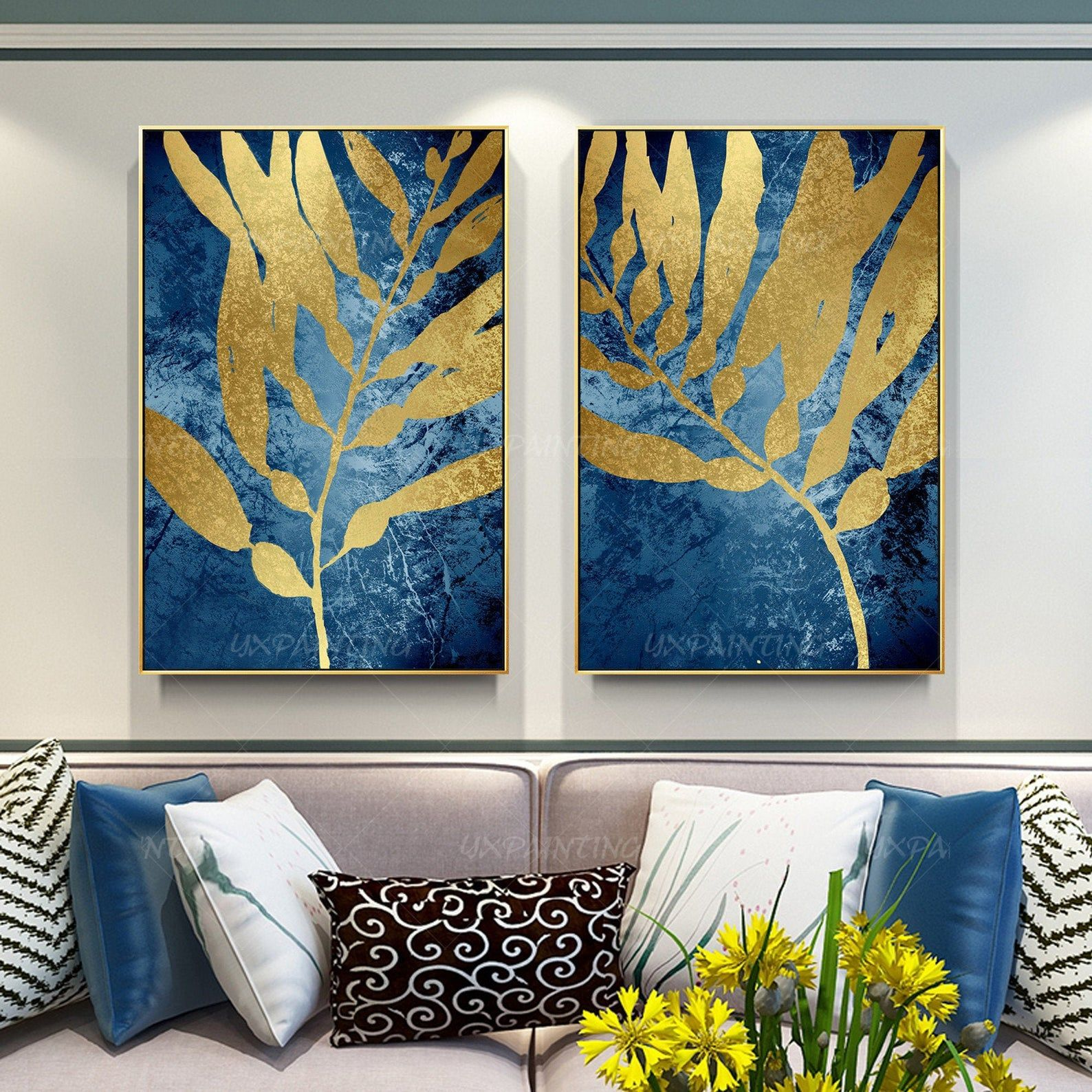 Gold Leaf Set Of 2 Wall Art Navy Blue Abstract Wall Art Etsy In 2020 Abstract Wall Art Blue Abstract Wall Art Etsy Wall Art