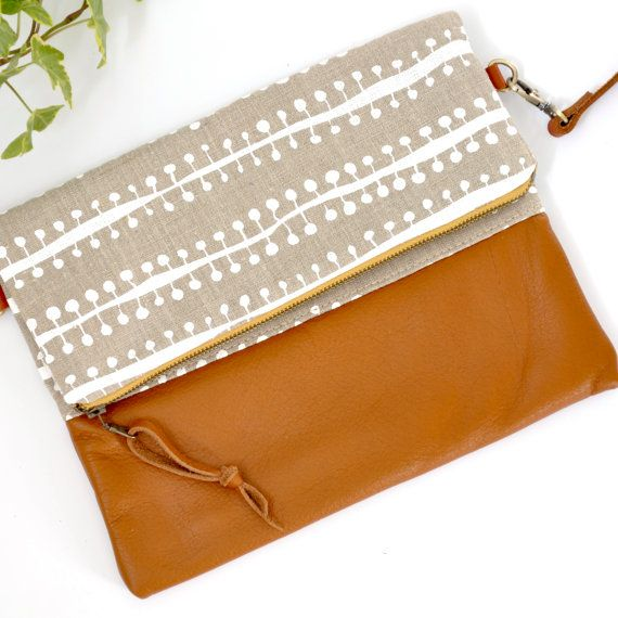 Leather Foldover Sling Bag Eco Friendly Clutch Everyday Purse Handmade In Australia Screen Printed Linen By Smallworlddreams On Etsy