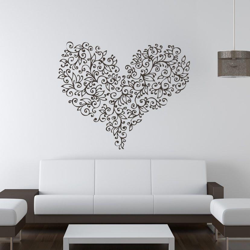 Floral Love Heart Flowers Valentine Wall Art Stickers Wall Decal Transfers