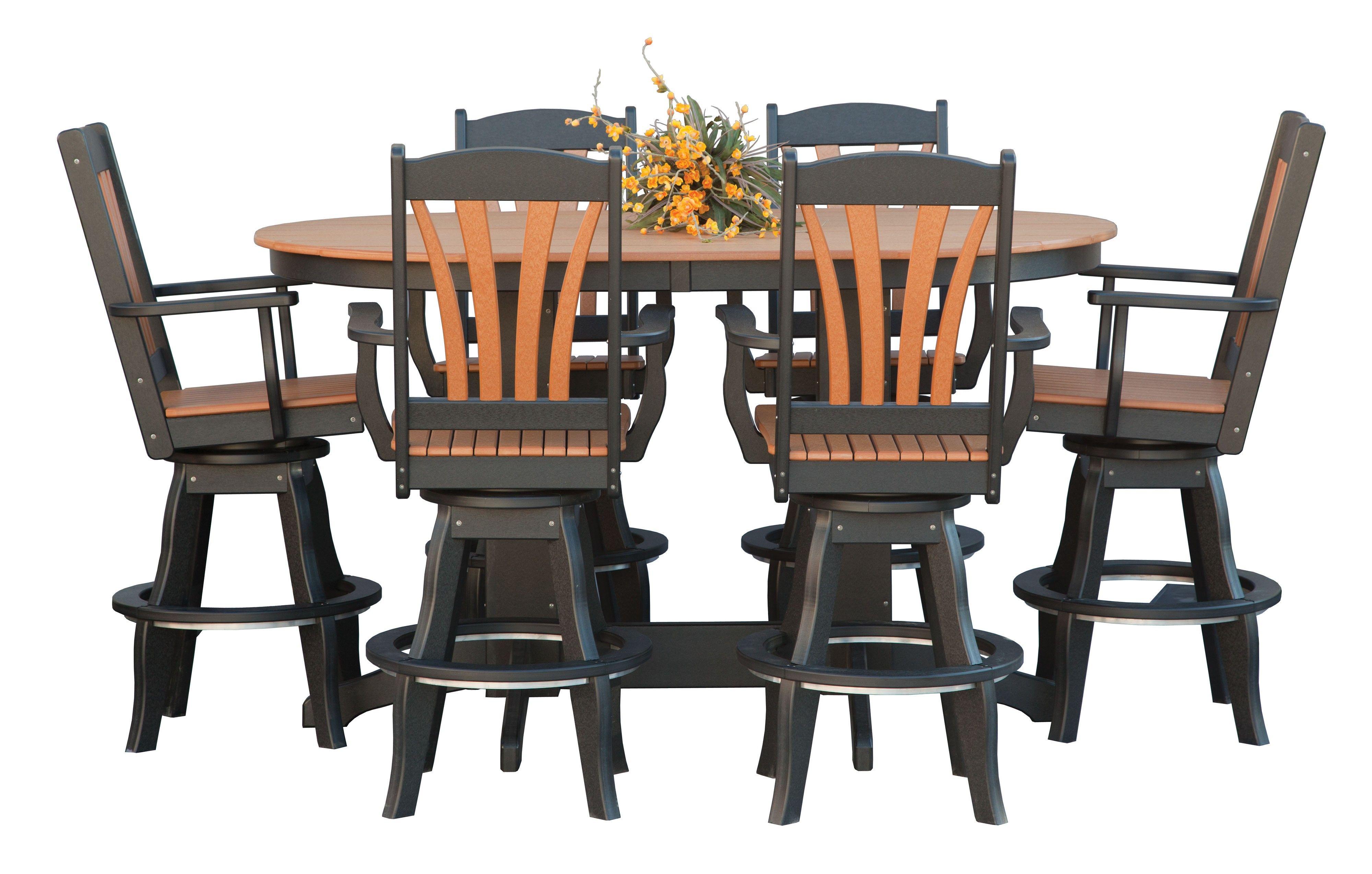 Best Amish Polywood 7 Piece Fanback Oval Balcony Set Polywood 400 x 300