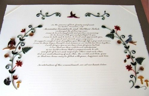 Nature-Inspired Quilled Marriage Certificate Wedding certificate - marriage certificate