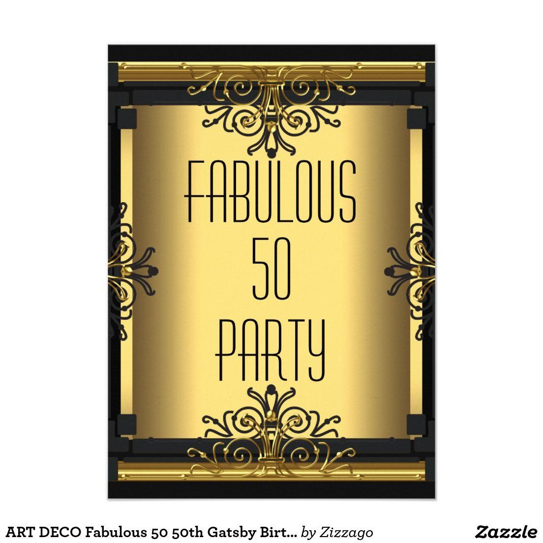 ART DECO Fabulous 50 50th Gatsby Birthday Party 4.5x6.25