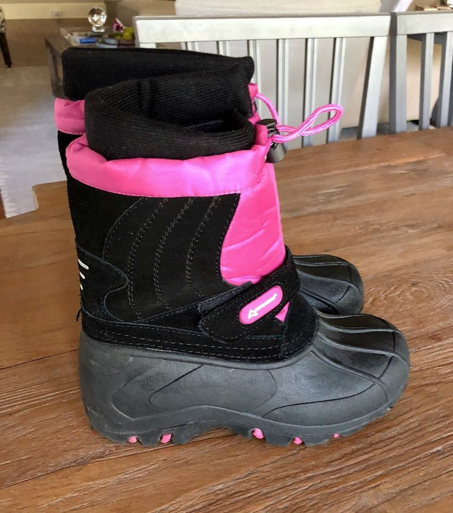 1312d670c4b GIRLS BOOTS ALPINE DESIGN BLACK AND PINK SIZE 3 SNOW CRUSHER ...