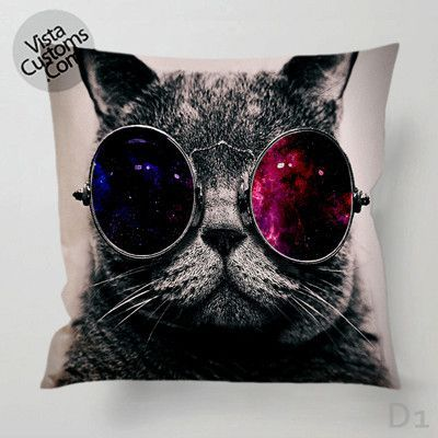 Steampunk Cat Galaxy Nebula Eye Glasses Pillow Case Chusion Cover 1 Or 2 Side