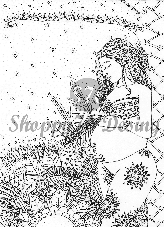 Sweet maternity / coloring page / digital stamp | Sellos digitales ...