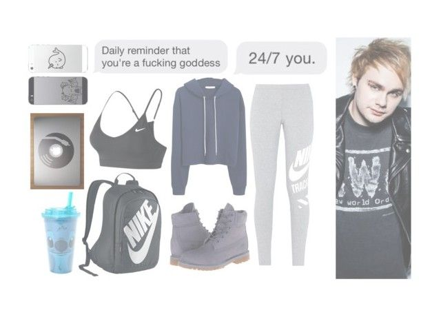 """""""Lazy with Mikey"""" by madzc14 ❤ liked on Polyvore featuring NIKE, MANGO, Timberland and Disney"""
