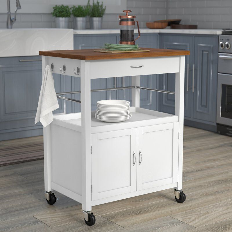 Kibler Kitchen Island Cart with Natural Butcher Block Bamboo Top in