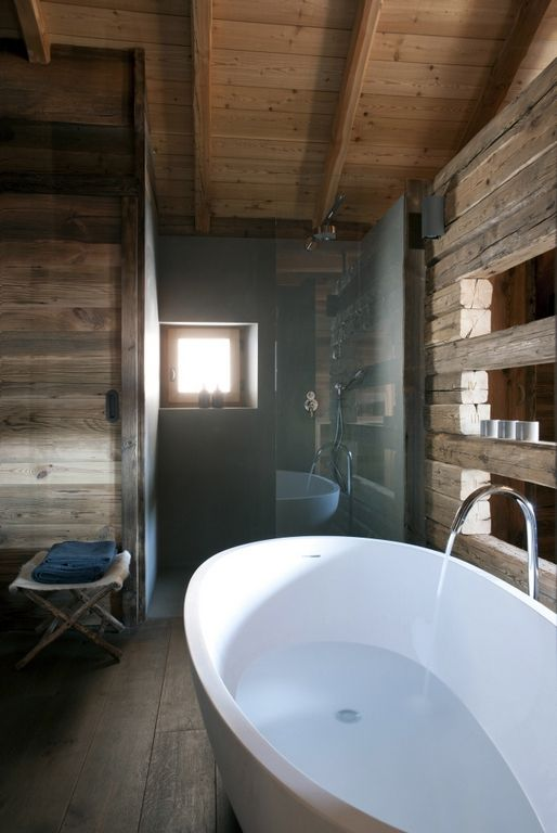 Cocooning chalet martine haddouche chalet bois Salle de bain cocooning