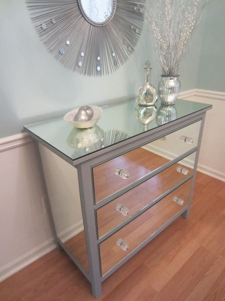 Mirrored Dresser Silver Upcycled Ikea 3 Drawer Mirror Usd By Mirroredjewels