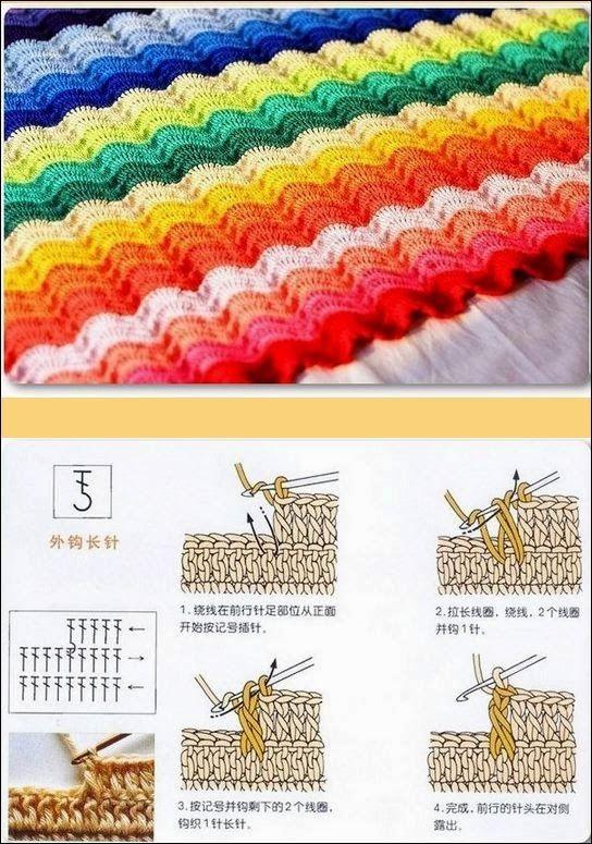 Qué linda queda esta combinación de colores, y el tejido con ondas ...