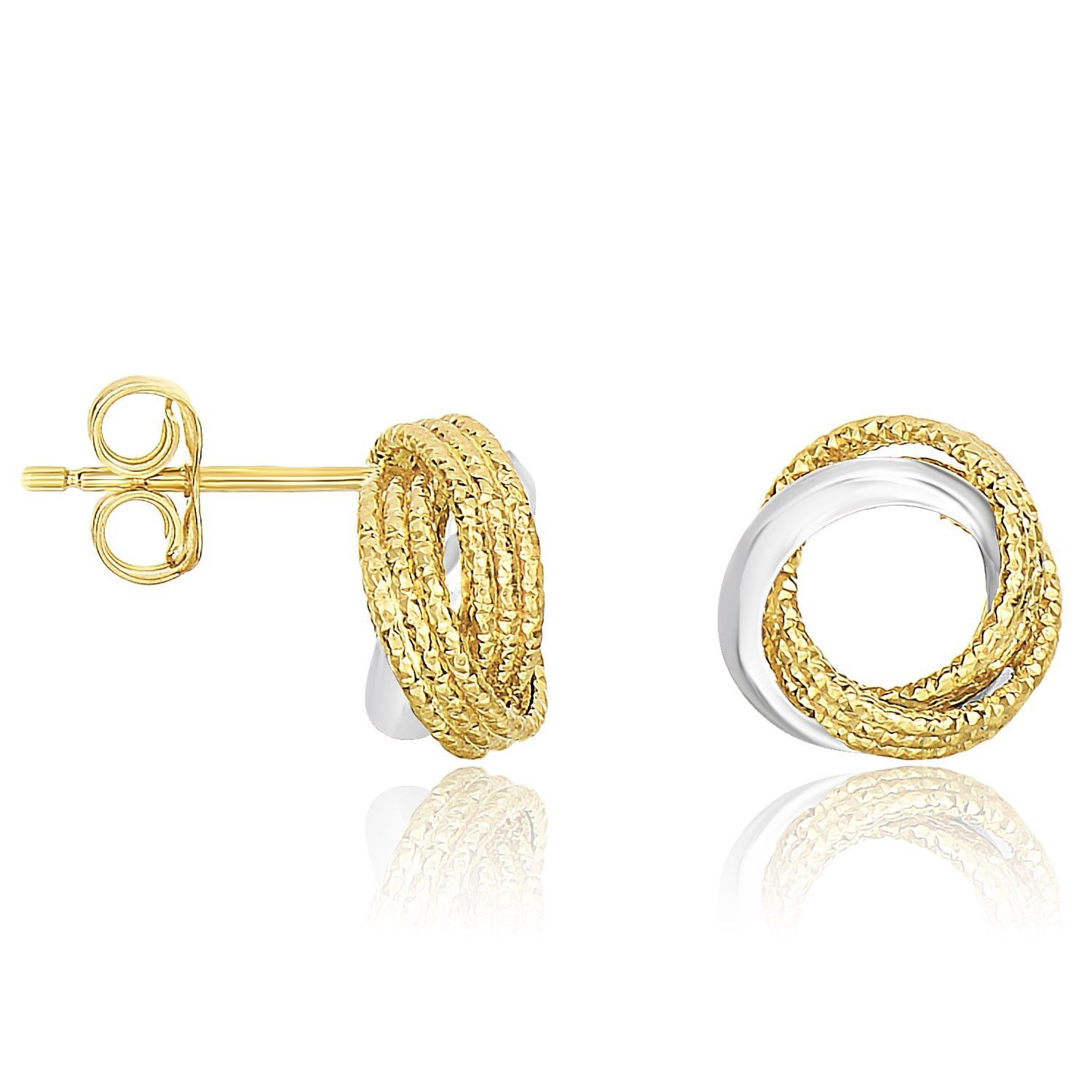14kt Two-tone Polished Intertwined Circles Post Earrings