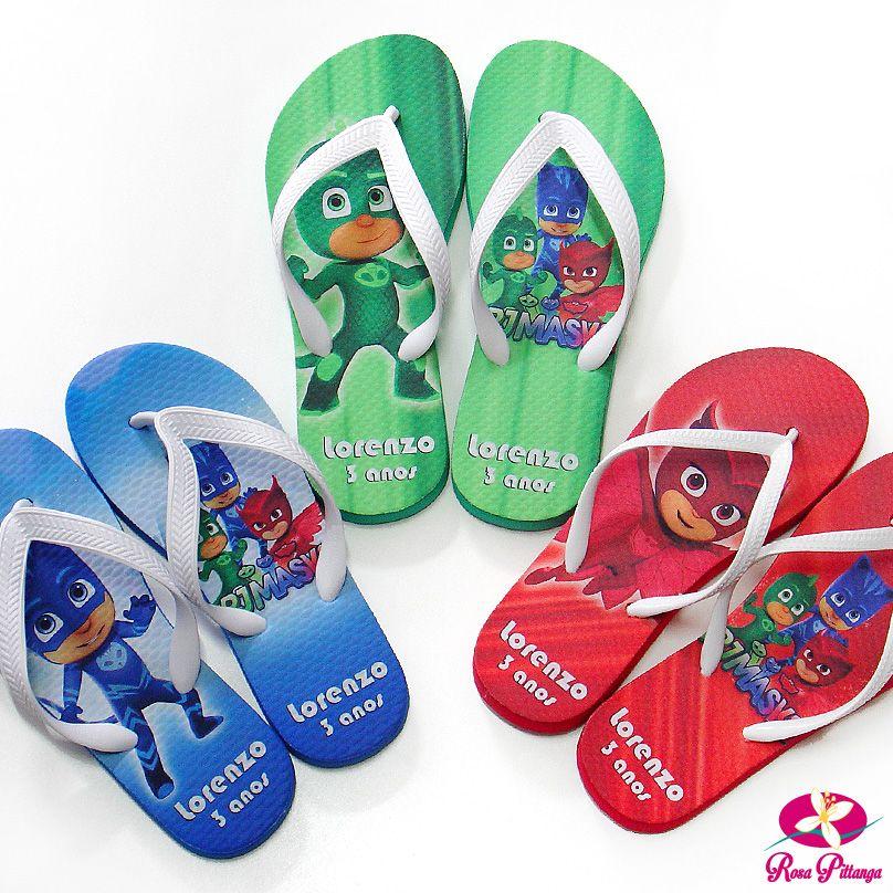 f42b1e0c0 Chinelo Personalizado para festa infantil com o tema PJ Masks ...