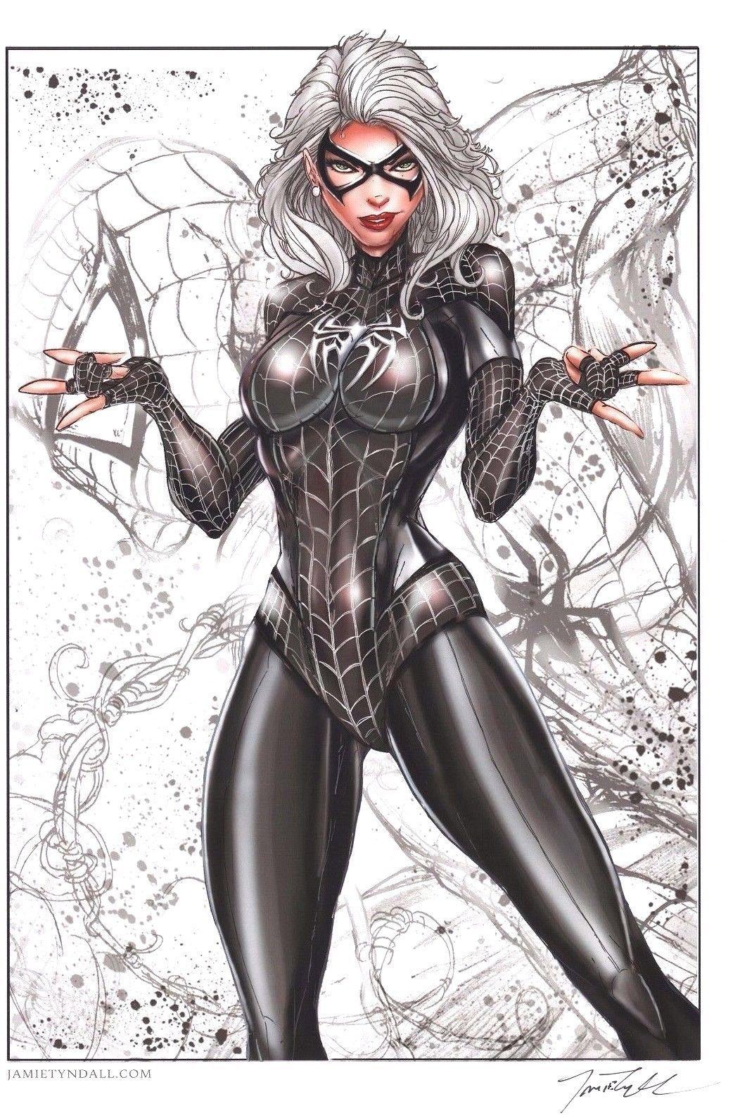 Black Cat Spider Man Suit 11x17 Signed Sketch Art Print By Jamie