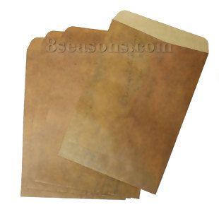 """$1.26 Wholesale - Paper Vintage Envelope Rectangle Brown 17.5cm(6 7/8"""") x 10.8cm(4 2/8""""), 10 Sheets"""