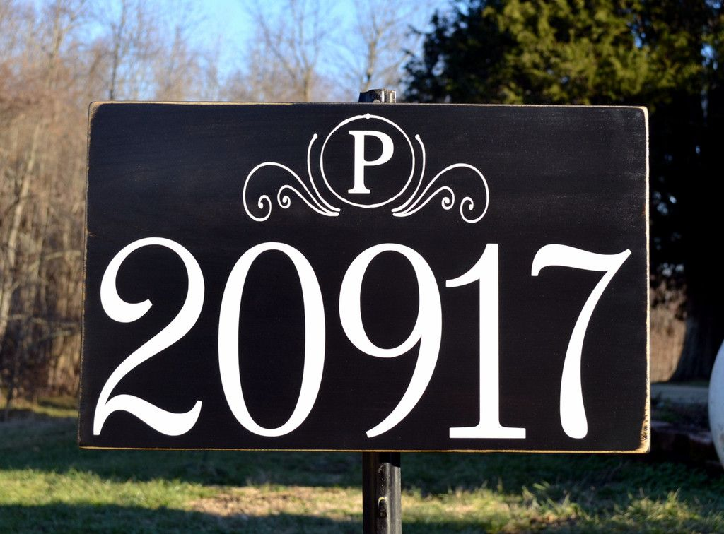 Address Plaque Hand Painted Rustic Outdoor House Large Numbers