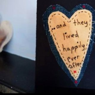 My favourite engagement card, beautifully handmade by my mammy. Using denim off cuts!